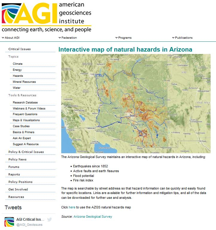 Interactive Map Of Arizona.Arizona Geology Arizona Natural Hazards Viewer Is Agi Map Of The Day