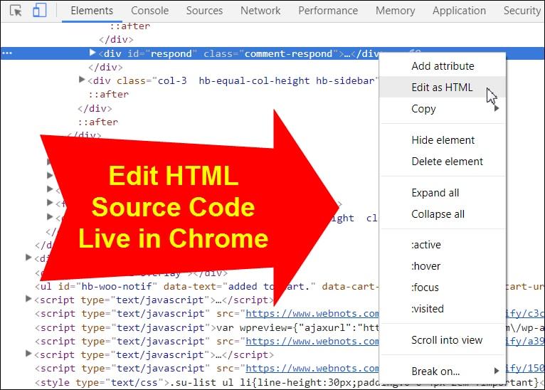 Source Code HTML, CSS, JavaScript in Google Chrome