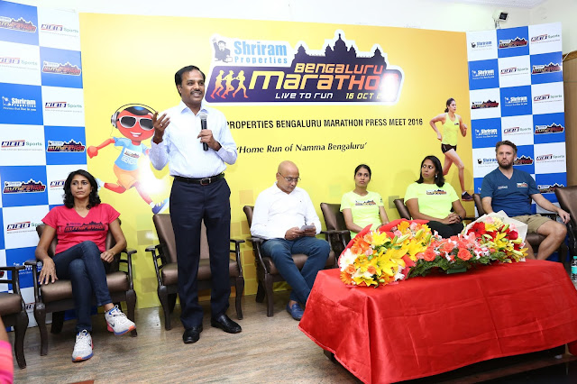 Ms. Reeth Abraham, Brand Ambassador - SPBM, International athlete and Arjuna Awardee, Mr. M Murali, Managing Director, Shriram Properties, Mr. Nagaraj Adiga, Race Director, Ms. Sudha Singh, Indian Olympic Runner, Ms. Nisha Millet, Indian Olympic Swimmer and Mr. Tom Naylor, Technical Race Director, Brighton Marathon, UK .