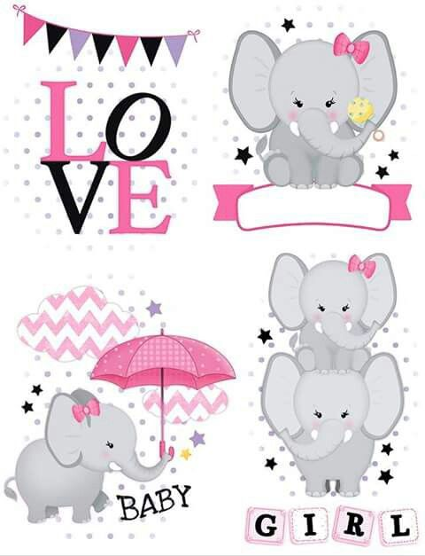 Baby Elephant in Pink: Printable Cake Toppers.