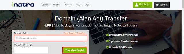 domain transfer siparişi oluşturmak