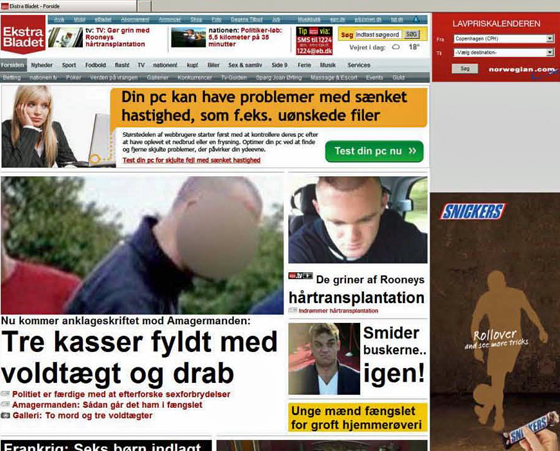 Danska tidningen Ekstra Bladet idag, nätupplagans förstasida.