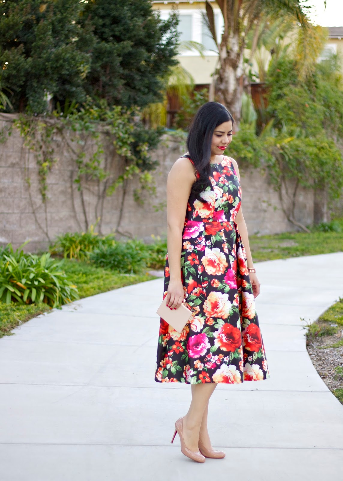 Chicwish floral dress, floral midi dress, valentines day inspired outfit, San Diego Fashion Blogger