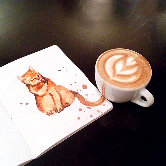04-Latte-Elena-Efremova-Coffee-Cats-Watercolor-Paintings-www-designstack-co