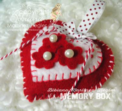 felt ornament in red using dies