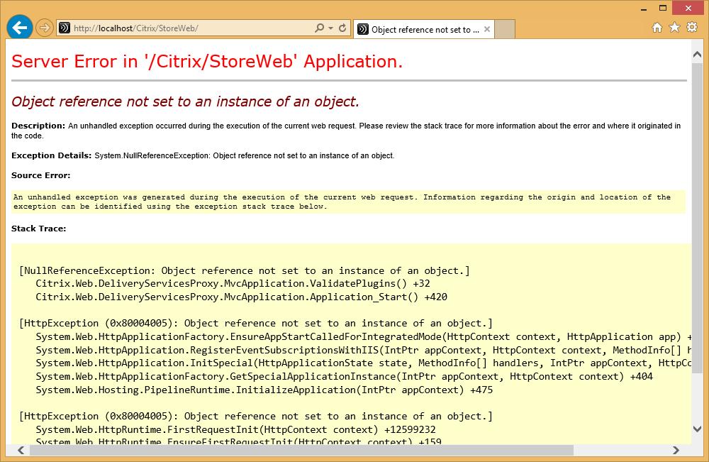 Citrix XenApp StoreFront web shows error