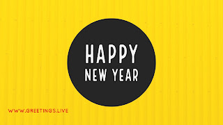 Yellow BG Big Black Circle White color fonts Happy New Year wishes