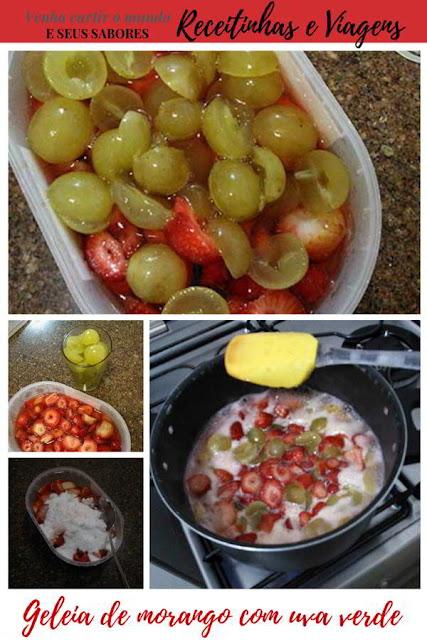 Receita de geleia de morango com uva verde