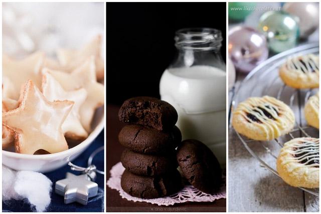 Zvijezdice sa čokoladom, mekani čokoladni keks i puterasti keks sa džemom