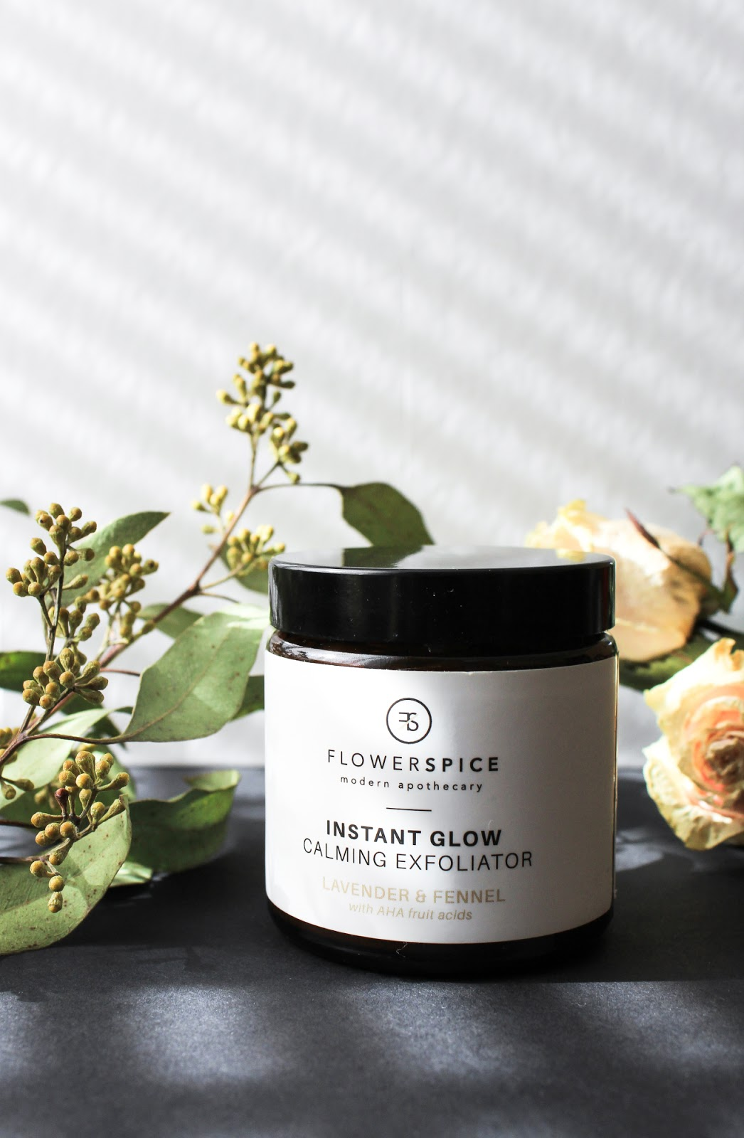 Flower and Spice Instant Glow Calming Exfoliator Lavender and Fennel with AHA fruit acids