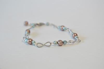 steel infinity figure 8 hammered green and brown bronze pearl bracelet spring handmade jewelry