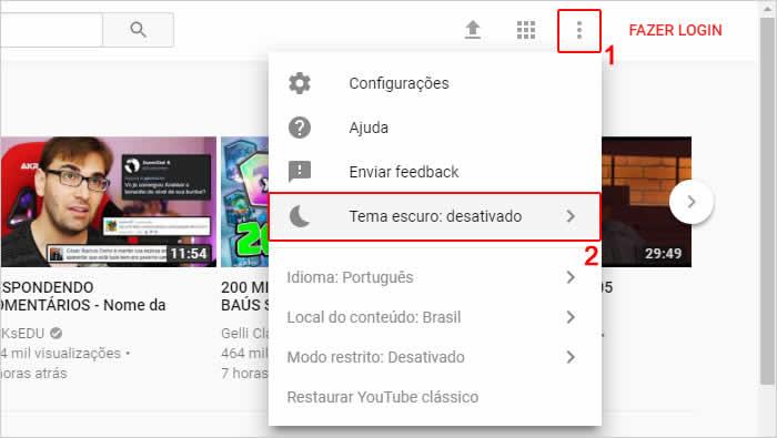 Acessando as configurações do Youtube para ativar tema escuro