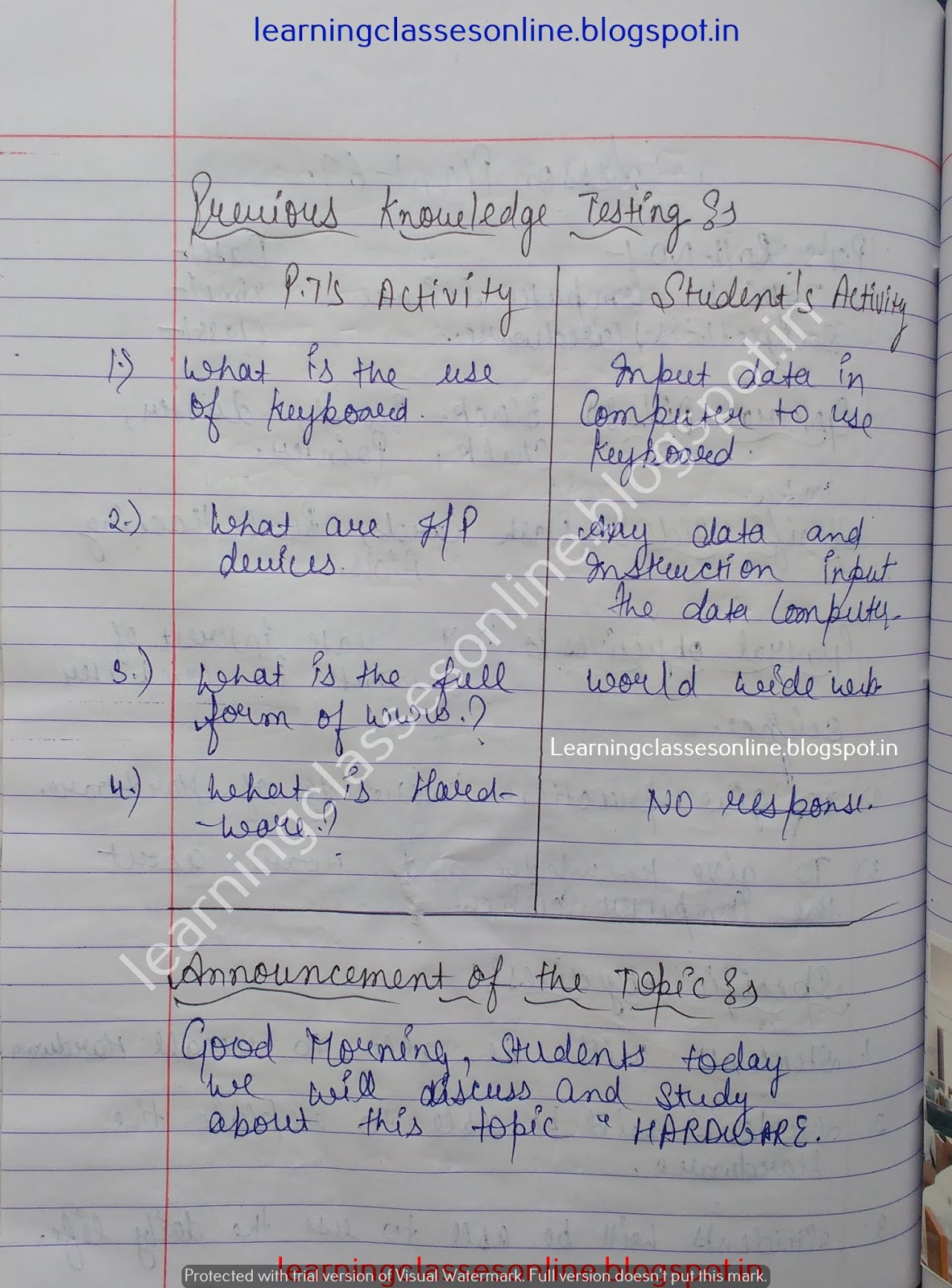 Lesson Plan In Computer High School,