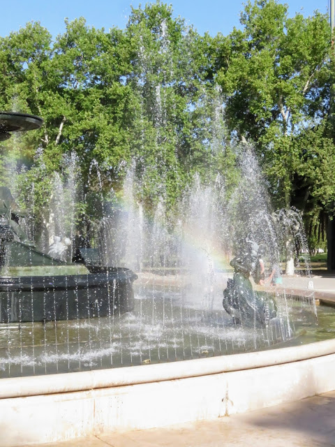 Fountain (with rainbow) in General San Martín  Park in Mendoza, Argentina