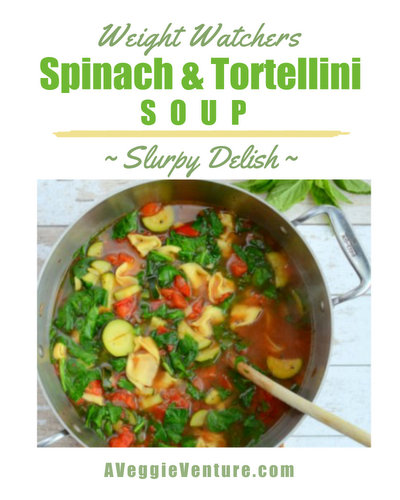 Weight Watchers Spinach & Tortellini Soup, another healthy soup ♥ A Veggie Venture. WW Friendly. Low Carb. Low Fat. Easily High Protein. Great for Meal Prep.