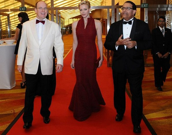 Prince Albert and Princess Charlene attend a gala dinner given in aid of the Prince Albert Foundation