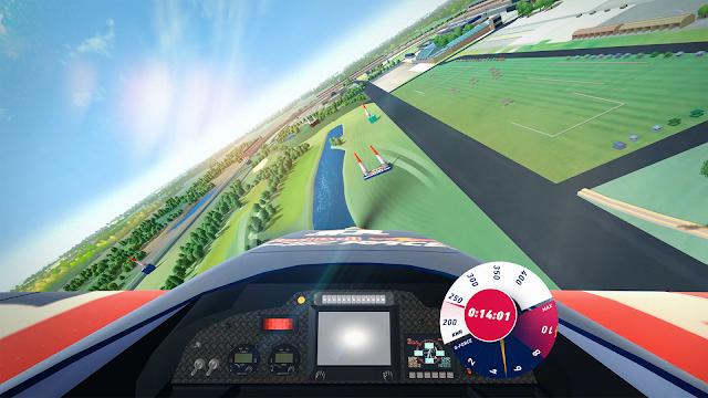 Ausblick aus einem Flieger auf die animierte Red Bull Strecke.