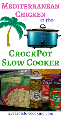 This Mediterranean Chicken recipe for the crockpot slow cooker uses frozen artichoke hearts, a jar of green olives, and a can of tomatoes to make a delicious sauce that is a super easy dump it all in recipe.  Perfect for a busy school or work night!
