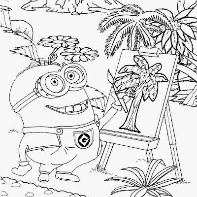 Fruit tree plantation fun artist costume minion banana drawing free activities for children to color