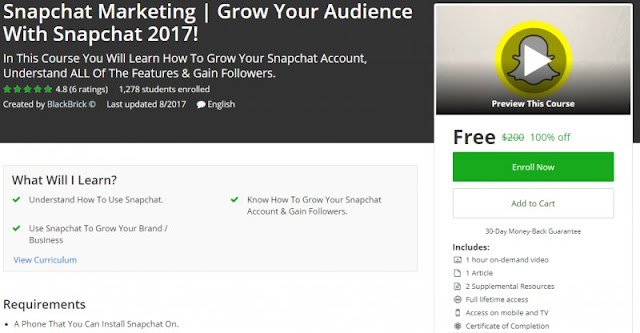 [100% Off] Snapchat Marketing | Grow Your Audience With Snapchat 2017!|Worth 200$