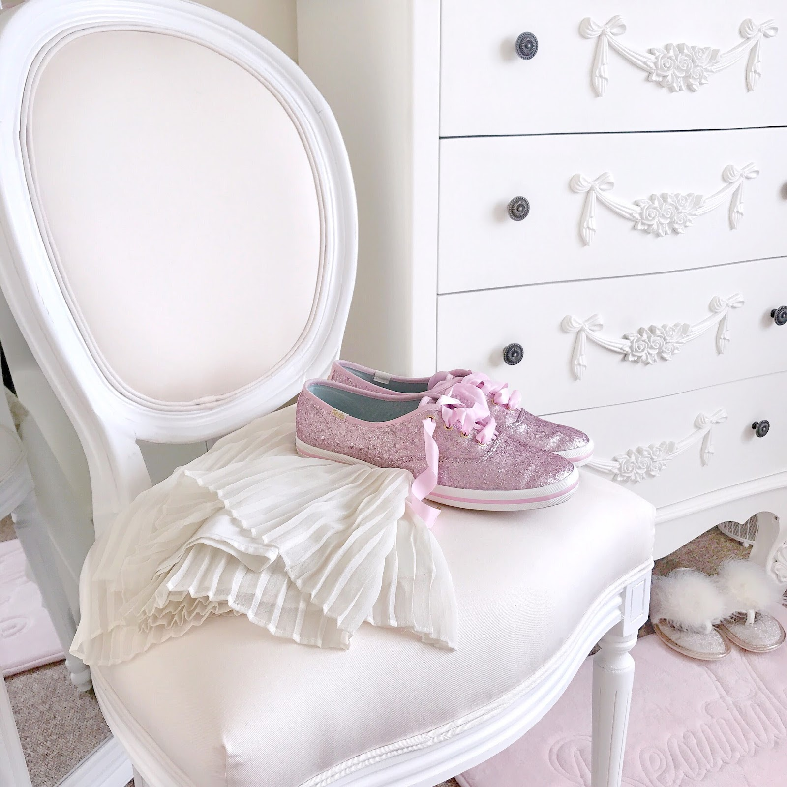 Ivory Vintage Parisian Dressing Table Chair | Love, Catherine