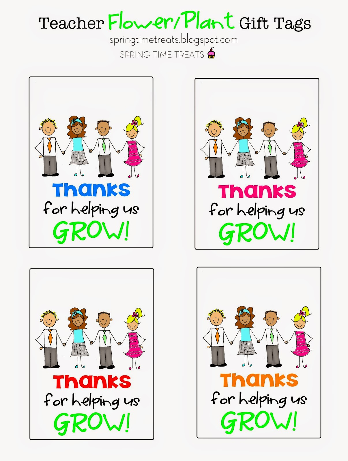 Spring Time Treats Free Teacher Appreciation Printables