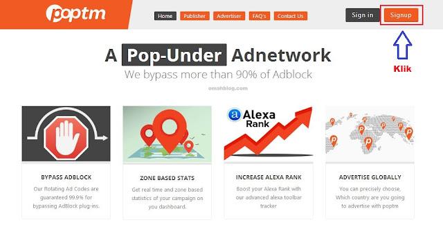 Cara Mendaftar Poptm Popup dan PopUnder Ad Network