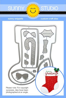 Sunny Studio Stamps: Santa's Stocking Christmas Low Profile Metal Cutting Die Set