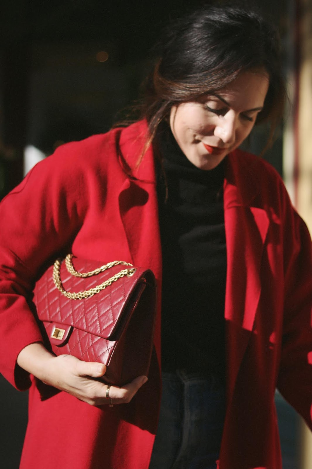 Red wool coat outfit le chateau italian loafers vancouver fashion blogger aleesha harris chanel 255 bag