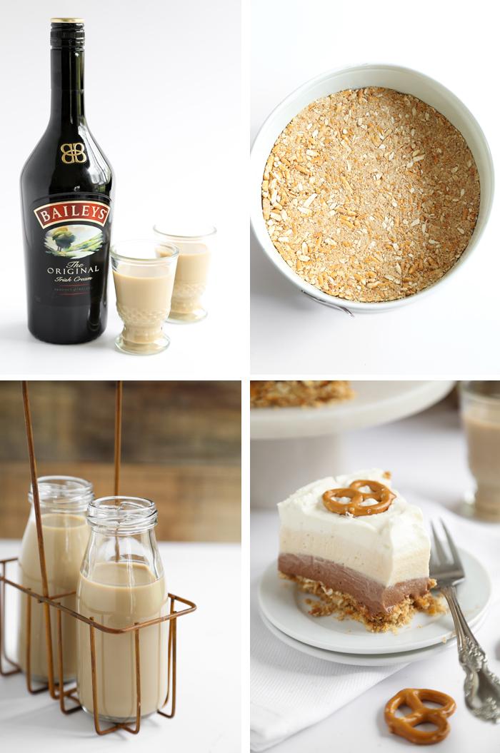 Layered Irish Cream Pretzel Pie