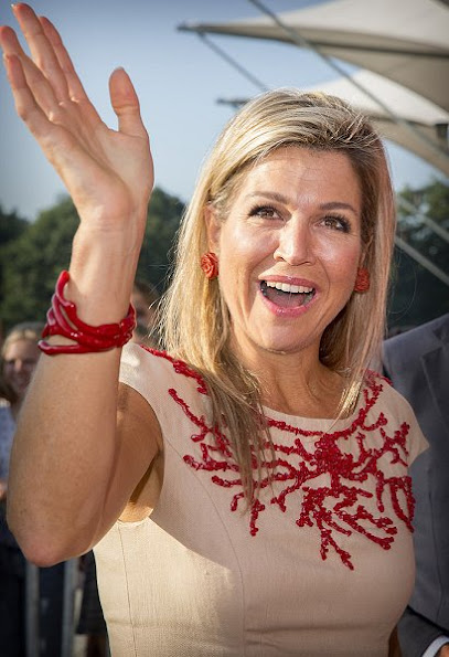 Queen Maxima of The Netherlands  visited ROC School  of Amsterdam. Queen Maxima wore Natan dress, and Natan shoes, pumps, dress new sesion