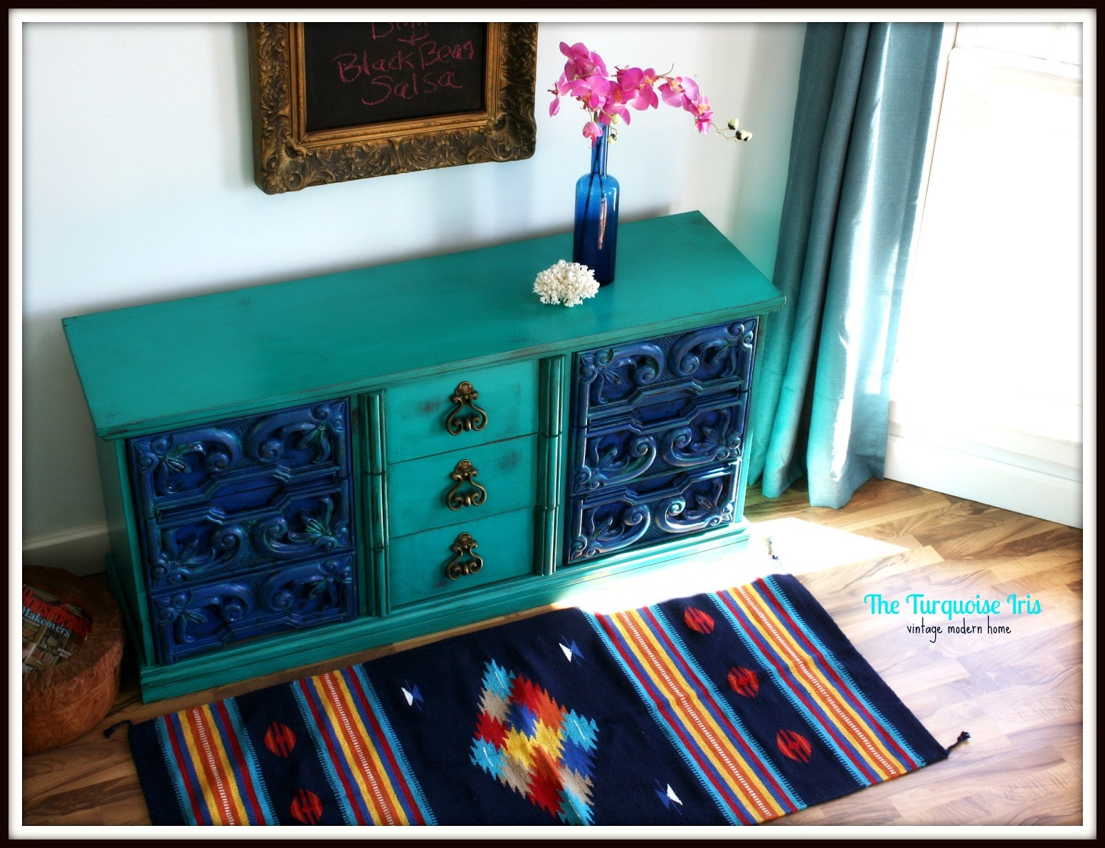 The Turquoise Iris  Furniture  Art Vintage Dresser in Turquoise  Cobalt