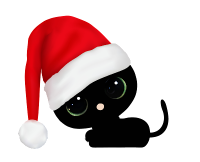 black cat in droopy santa hat