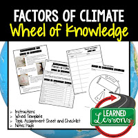 Factors of Climate Activity, World Geography Activity, World Geography Interactive Notebook, World Geography Wheel of Knowledge (Interactive Notebook)
