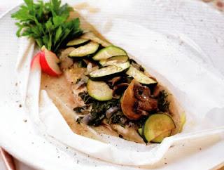 Filetes de Peixe com Curgete e Cogumelos Bimby