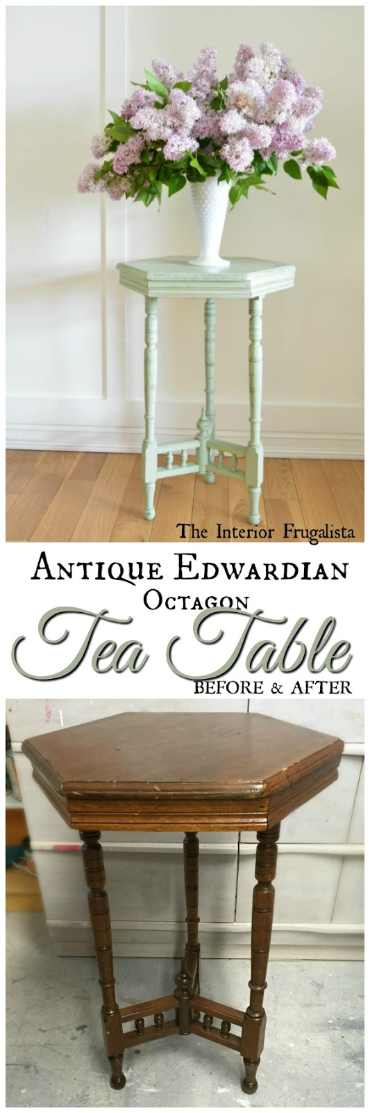 Antique Edwardian Octagon Tea Table Before and After