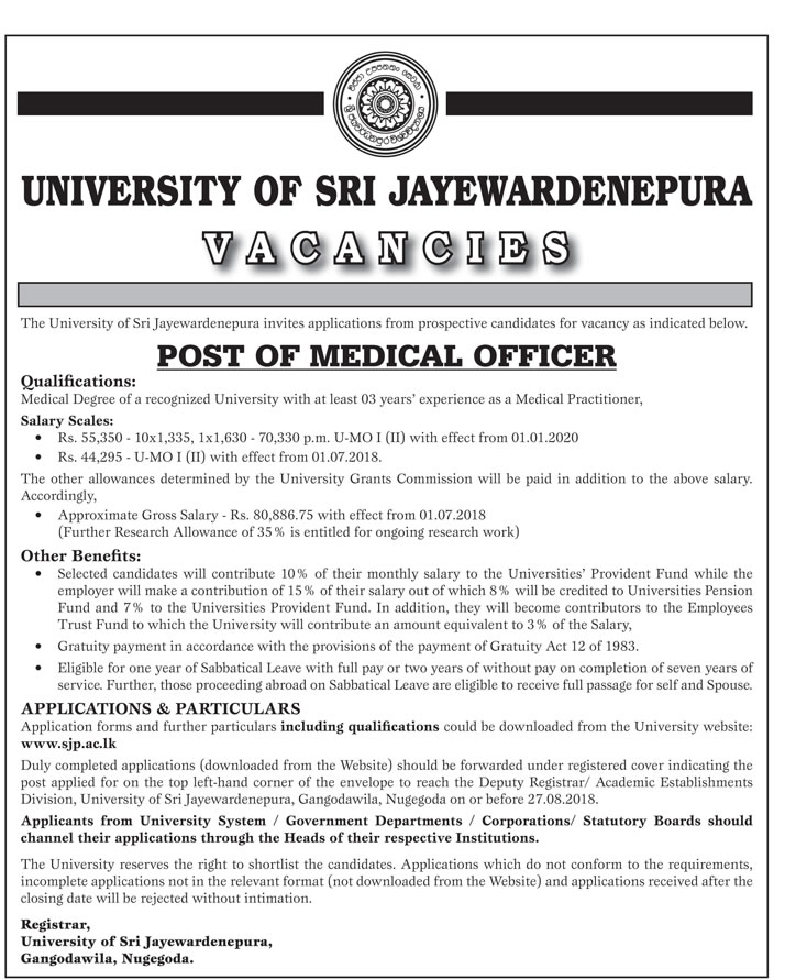 Medical Officer Vacancy in University of Sri Jayawardenapura - Top Jobs