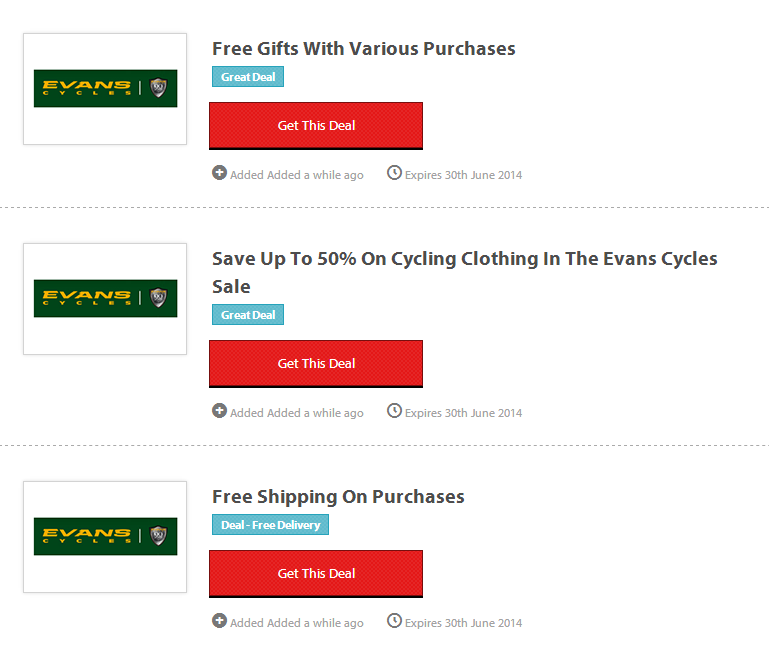 Can't find a code? Request one.. Connect with Evans Cycles. You are viewing current vaicepranspe.tk coupons and discount promotions for December For more about this website, and its current promotions connect with them on Twitter @evanscycles, or Facebook.