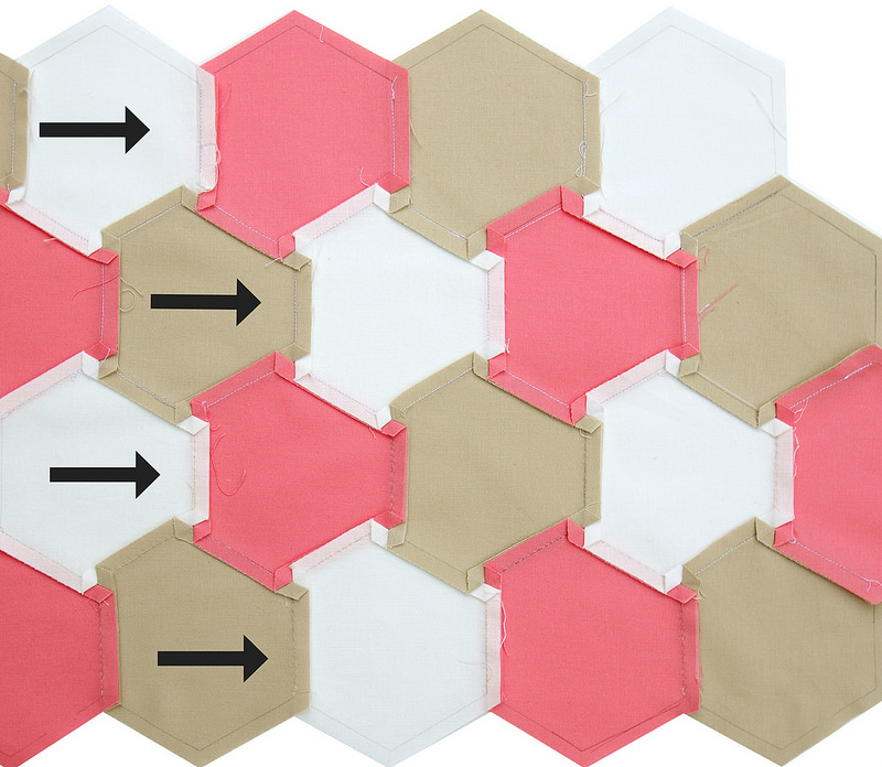 Tutorial: Machine Piecing Hexagons :: Pressing Seams | © Red Pepper Quilts 2017