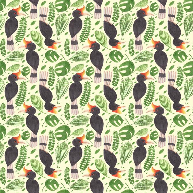 the tropical hornbill pattern haidi shabrina illustration