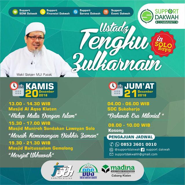 Inilah Agenda Dakwah Ustadz Tengku Zulkarnain Bulan Desember di Solo Raya