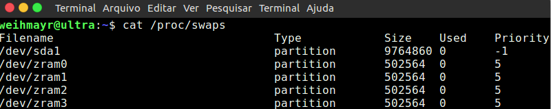 resultado do zram no terminal