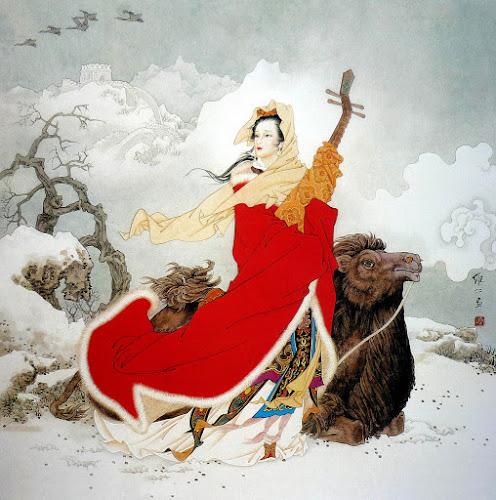 Desenho em cores de Wang Zhaojun na neve, com sua cítara e um animal ao lado