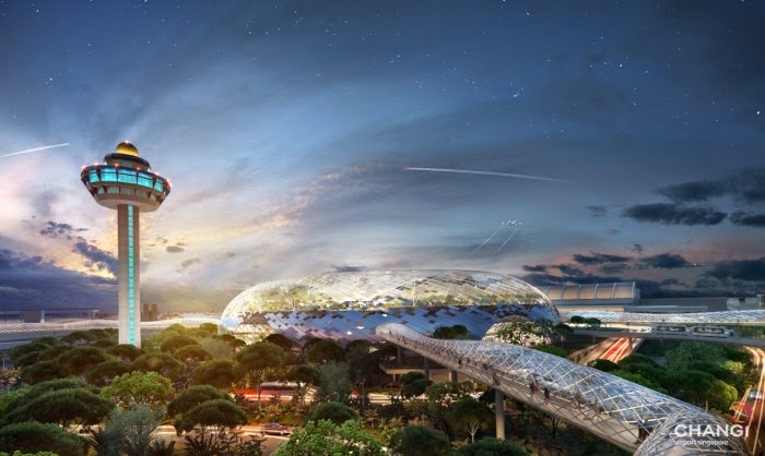 Artist impression of Project Jewel, Singapore Changi Airport