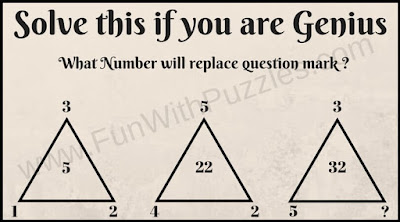 Maths Puzzle to find missing number in triangle