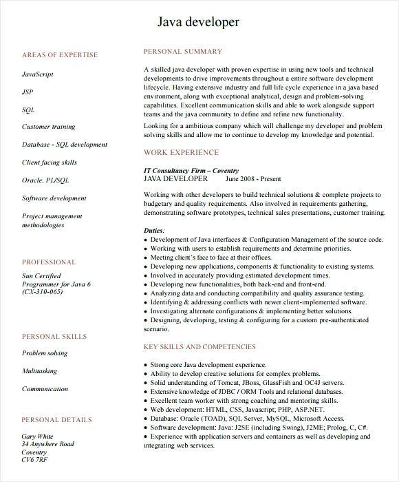 Senior Java Developer Resume Sample