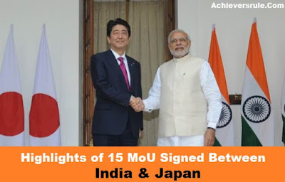 Highlights of 15 Agreement Signed between India and Japan