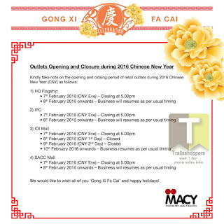 Macy Home Furnishings Chinese New Year 2016 scheduled operation hours