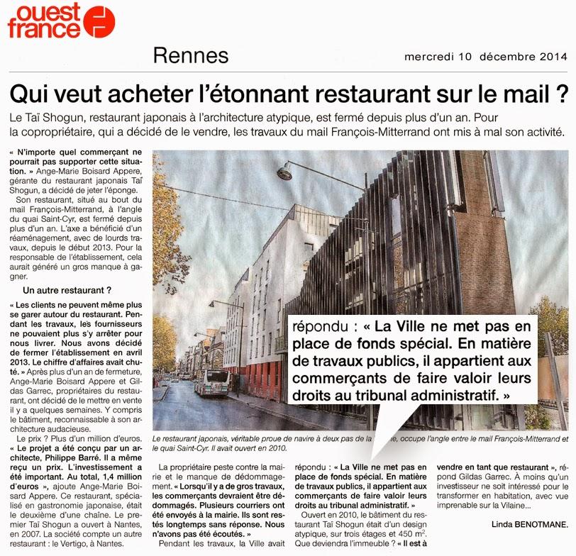 """Article de Ouest-France - Pages """"Rennes"""" - 10 décembre 2014"""